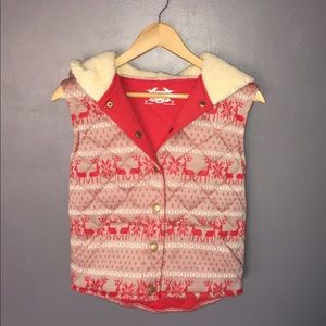 Quilted Christmas Reindeer Hooded Sweater Vest
